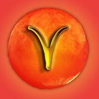 Aries-glyph orange